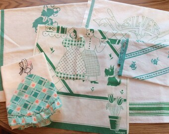 Green & White dish towels set of 6