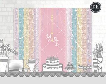 the OLIVIA Party Banner: Korean First Birthday DOL Baekil Printable Backdrop