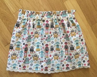 Baby Girl Skirt-Toddler Skirt-Robot Skirt-Retro Skirt-Baby Robot Outfit-Shower Gift-Baby Girl Cotton Skirt-Skirt-Twirl Skirt-Toddler Gift