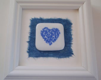 Baby Blue Fused Glass Framed Heart