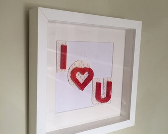 LEGO 'I Love You' Valentines Day Gift Frame - For Him or For Her - Perfect for Anniversaries or Weddings