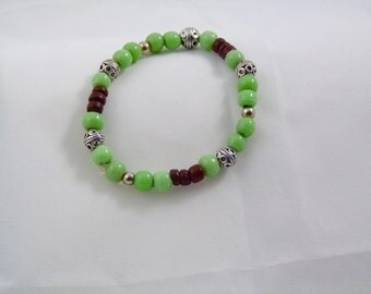 light green and brown bracelet. Stretchy, with silver bead spacers,  gift for her, everyday jewelry