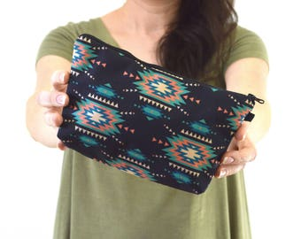 "Aztec Print Zippered Cosmetic Bag, Make-up Bag, Toiletry Bag, Pouch - 8"" x 5.5"""