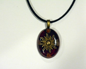 Gemstone Pendant Sun Red Healing Jewelry Necklace