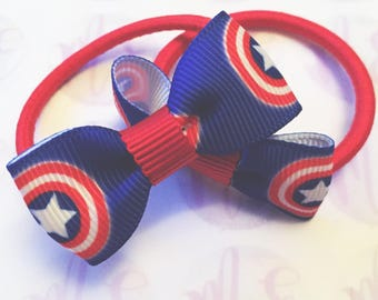 Captain america hair bows headband hairband snapclips girls babies ladies