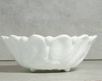 Rare Milk glass Footed Serving Bowl