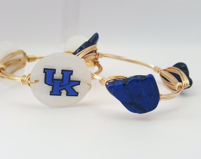 20% off University of Kentucky Wire Wrapped Bangle set, Bracelet, Bourbon and Boweties Inspired