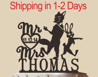Zootopia Personalized Rabbit and Fox Wedding Cake Topper Mr and Mrs With Name and  Date,Exquisite Ornament Custom Gift CT092