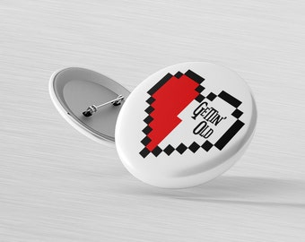 Retro Gaming Accessories - Gamer Patch Heart - Gamer Birthday Gift - Getting Old Pin - Birthday Badge - Gift for Teen - Pixel Heart Magnet