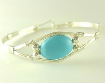 Silver woven wire turquoise bead bangle bracelet