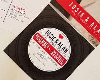 Retro Vinyl Record Wedding Invitation - Musical Wedding Invite