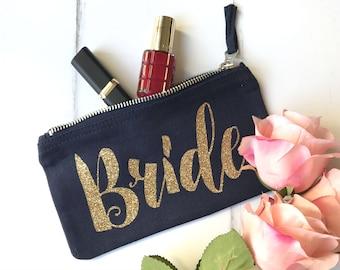 Bride Make Up Bag   Bridal Shower Gift for Bride   Wedding Gift for Bride   Gift for Bride   Makeup Bag   Zipper Pouch