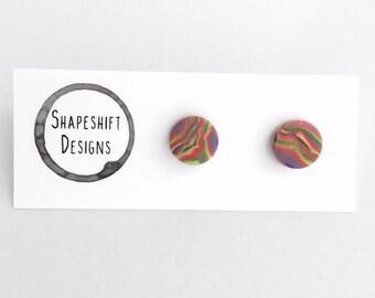 Handmade polymer clay stud earrings- Marbled Rainbow