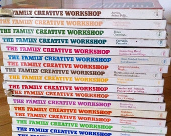 1970's craft book, the Family Creative Workshop, alphabetical covers a variety of crafts, hobbies.
