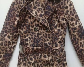 Vintage Swordfish Trenchcoat/Size S/Leopard Design/Women Jacket