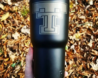 Texas Tech university powder coated and laser engraved tumbler 30 Oz  like YETI cold drinks coffee