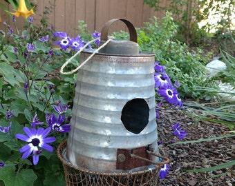 Handmade Vintage Whimsical Rusty Birdhouse All Metal