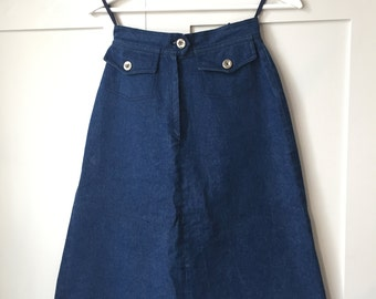 Vintage Jeans Time 70s High Waist Denim Skirt Alexa Chung Style W24