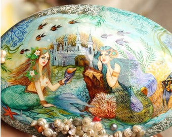 Painted Mermaids Seascape on a Shell with a Wood Base