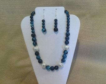 182 Modern Teal Colored Marble Style Glass Beads and Silver Plated Filigree Large Beads Beaded Choker