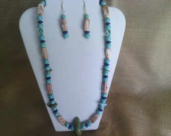 162 Primitive Style Magnesite Turquoise and Fancy Marble Beads Beaded Necklace