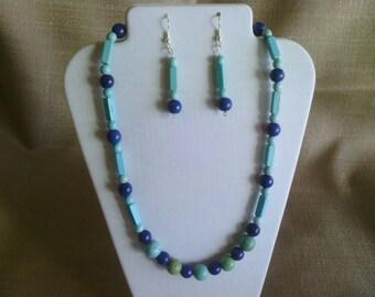 108 Beautiful Multi Toned Lapis Blue Magnesite Turquoise Beaded Necklace