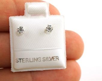 Sterling Silver Screwback Baby Earrings - 3mm