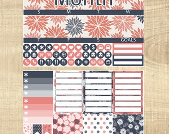 Erin Condren Vertical Monthly Kit - Darling Dahlias - Any Month!
