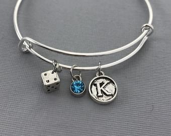 Dice Bracelet - Bunco - Bunko Gifts - Casino Jewelry - Gambling Gift - Gift for her - Bunko - Bangles - Gift for mom - Gift for Gambler