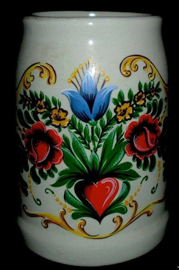 Vintage German Beer Krug~Hand Painted Heart and Flowers~Valentines Krug