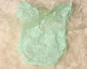 Newborn Baby Girl Lime Floral Stretch Lace Romper Photographers Prop Low Back coordinating Organza Ribbon self tie ribbon cap Sleeve.