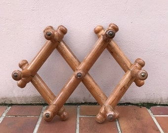 French VINTAGE Wood COAT Racks 7 pegs BAMBOO Style expandable 1002171