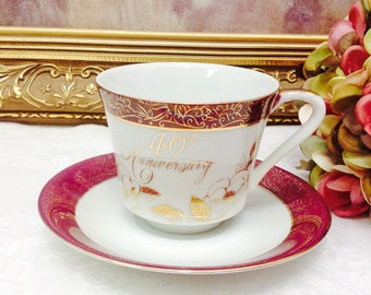 40th Anniversary teacup and saucer.