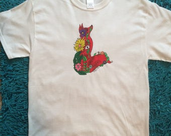 Fox Tshirt Hand Painted