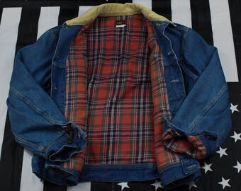 Vintage 80s Lee Flannel Lined Denim Jacket with Corduroy Collar Size M Chore Ranch Plaid Riders