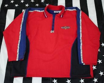Vintage 90s Jerzees 1/3 zip pullover sweatshirt Size L Rave Club Wear Colorblocking