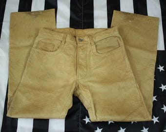 Vintage 90s RARE Diesel Industry Distressed Leather Jeans Size 33W x 31L Tanned Leather Broken In Button Fly Straight Leg
