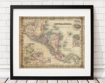 Central America Map, Vintage Map Art, Antique Map Print, Wall Art, History Gift, Old Maps, Guatemala, Honduras, Nicaragua, Costa Rica