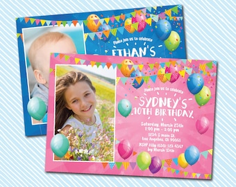 Digital Printable Birthday Invitation. Balloon birthday. boy birthday. girl birthday
