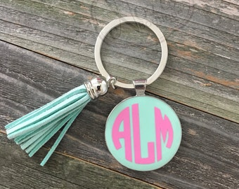 Monogramed Keychain with Tassel; Enamel, Custom Personalized Keychain
