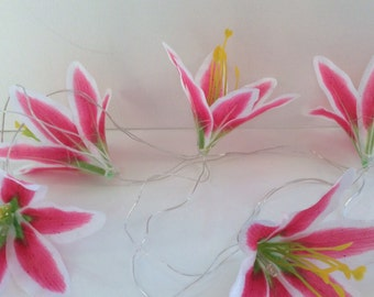 Lily flower tropical hawaiian lights, perfert for a bedroom, a party or garden lighting