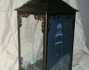 Hand etched glass lighthouse lantern