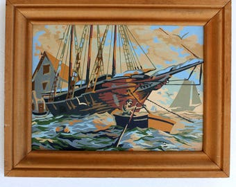Vintage Paint by Number: Nautical Boat & Dinghy boat, Framed Painting