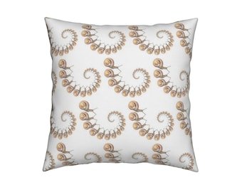 SNAIL SNAIL PILLOW  | White & Gold | Custom Design Fabric | 18X18 | 18x12 | A Portion of Proceeds go to Charity