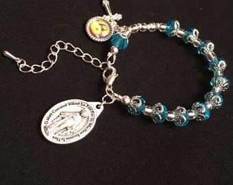 Crystal Glass Aqua Blue Rosary Bracelet