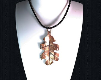 Forged Copper Oak Leaf, Copper leaf necklace, Copper leaf pendant, Forged copper pendants, Oak leaf copper pendant, Oak Leaf Copper Necklace