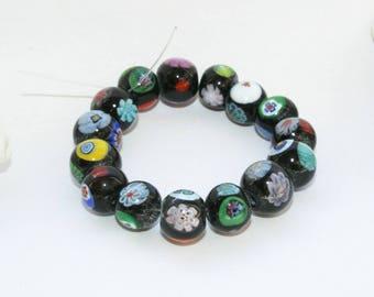 Murano glass beads, beads, flower beads, millefiori beads, necklaces, bracelet beads 9 - 10 mm