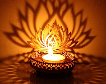 Hashcart Decorative Shadow Lotus OM Tea Light Holder For Diwali / Décor / Gift