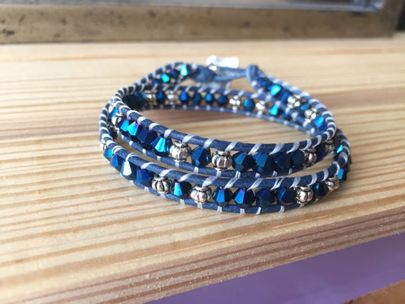 Dark blue double wrap bracelet, silver accent beads, gift, bridesmaid, elegant, dainty, feminine, 4mm