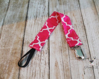 Hot Pink Moroccan Paci Clip